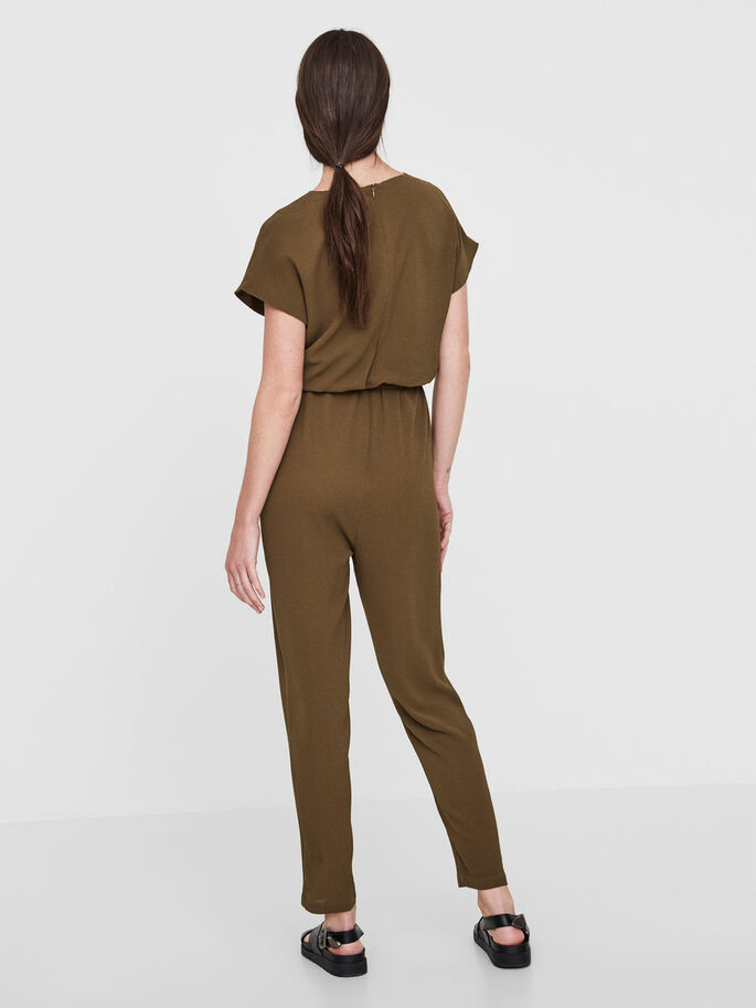 SHORT SLEEVED JUMPSUIT, Dark Olive, large