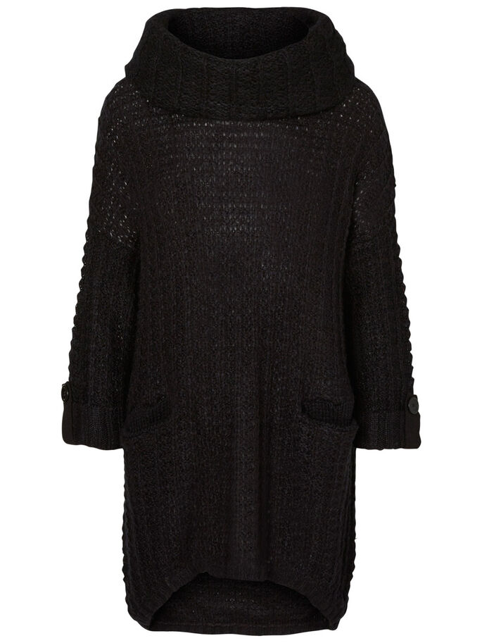 3/4 SLEEVED KNITTED PULLOVER, Black, large