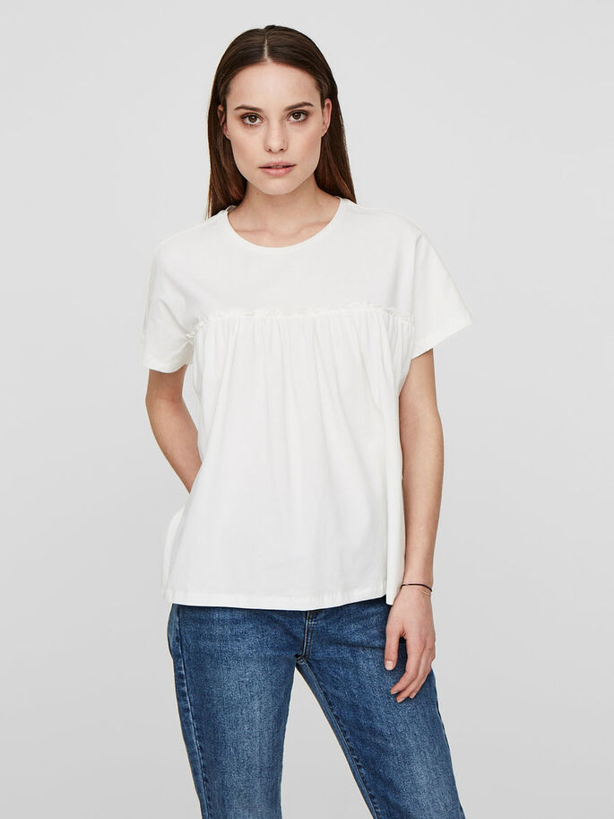 CASUAL TOP MET KORTE MOUWEN, Snow White, large