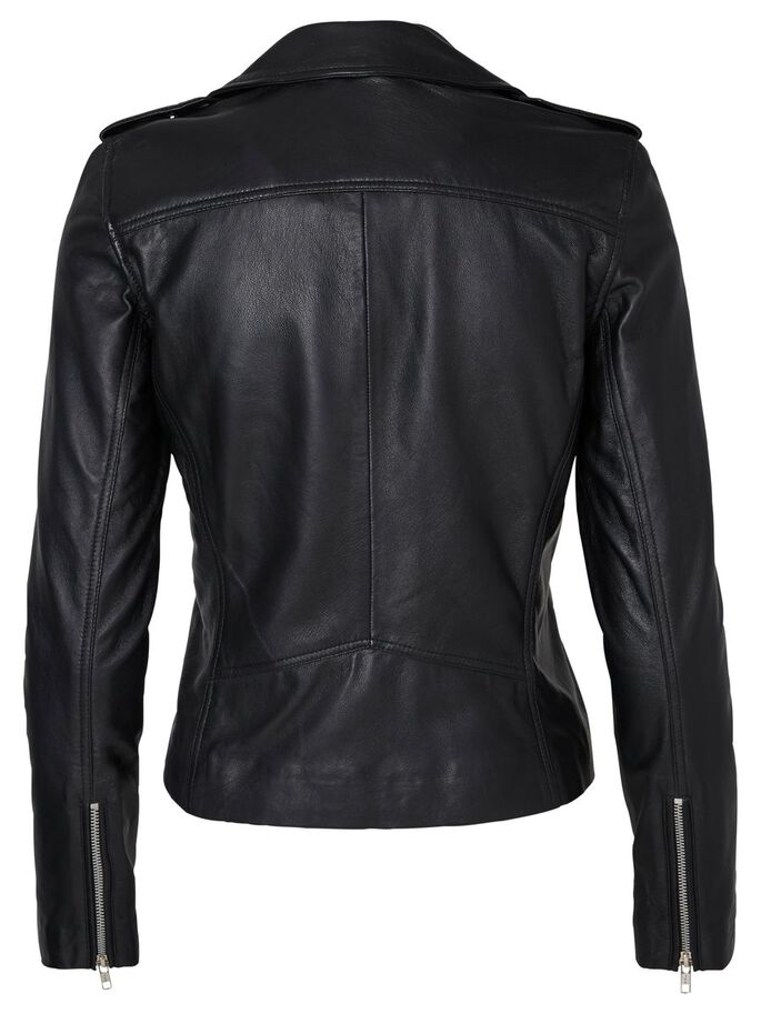 SHORT LEATHER JACKET, Black Beauty, large