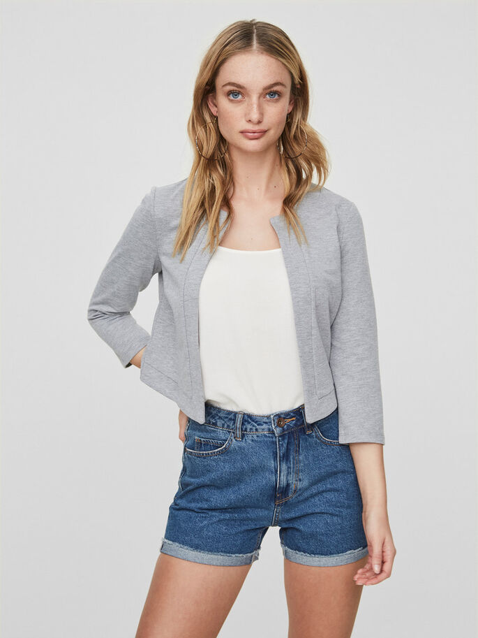 SHORT BLAZER, Light Grey Melange, large
