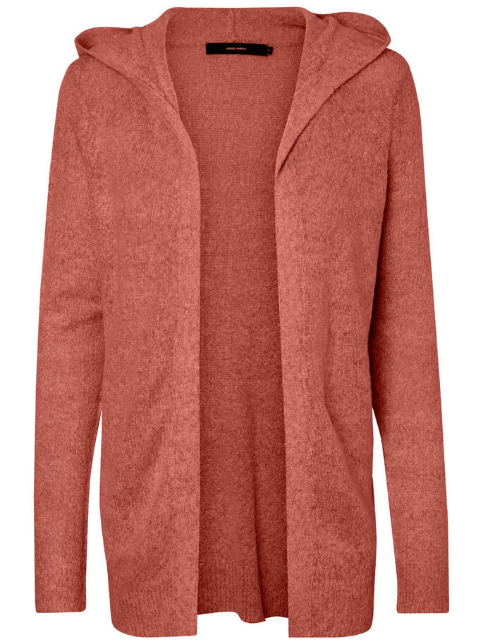OUVERT CARDIGAN EN MAILLE, Withered Rose, large