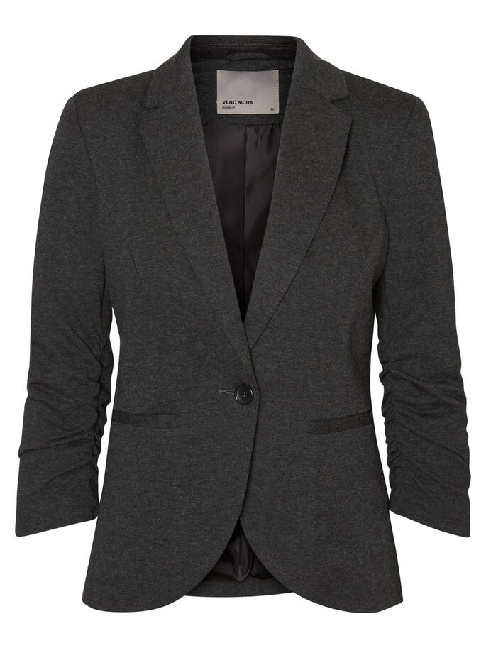 3/4 ÆRMET BLAZER, Dark Grey Melange, large