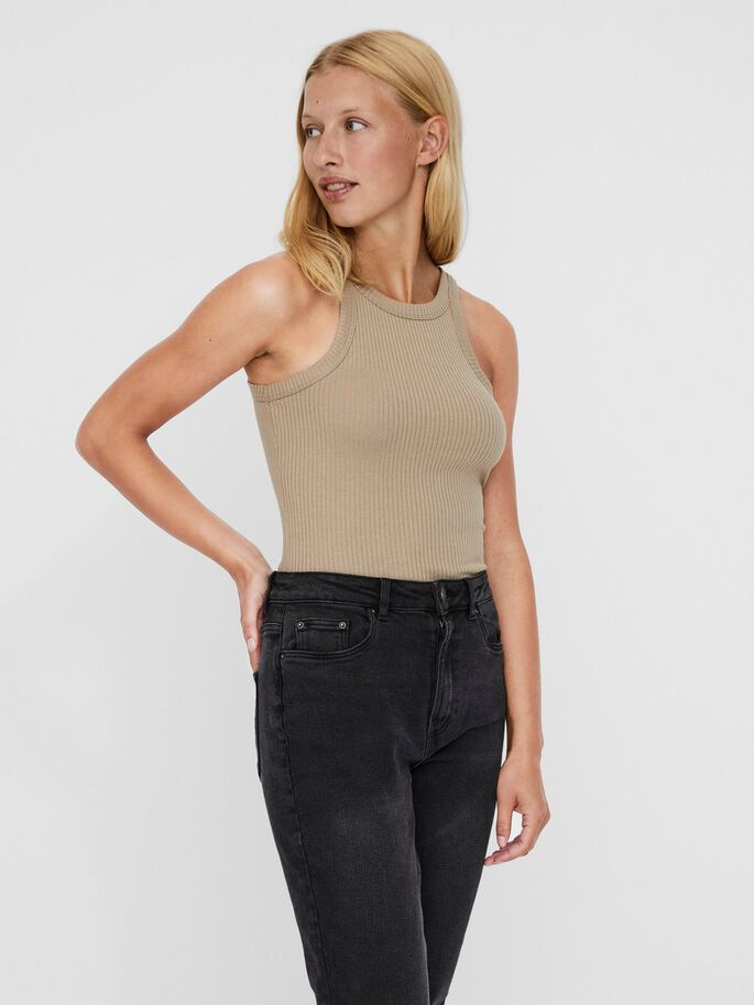 O-NECK SLEEVELESS TOP, Silver Mink, large