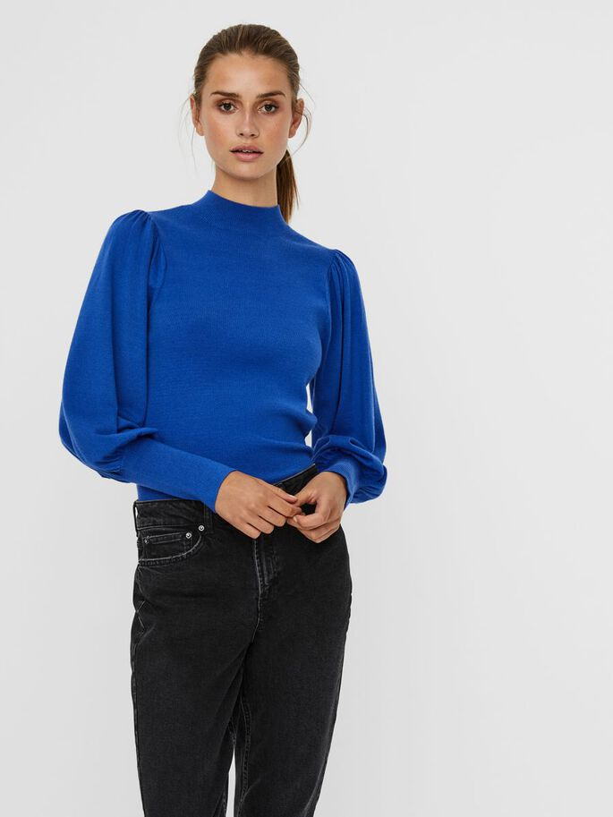 VOLUME SLEEVED KNITTED PULLOVER, Dazzling Blue, large