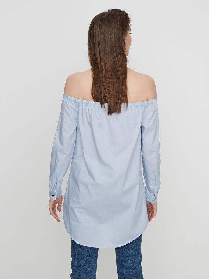 OFF-SHOULDER LONG SLEEVED SHIRT, Kentucky Blue, large