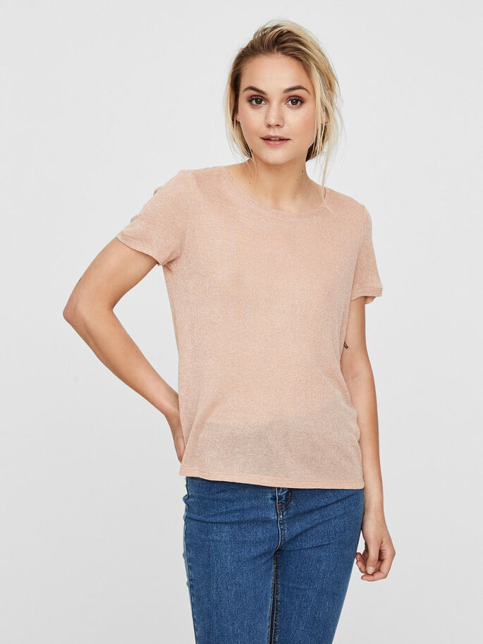 GLITTER SHORT SLEEVED TOP, Cameo Rose, large