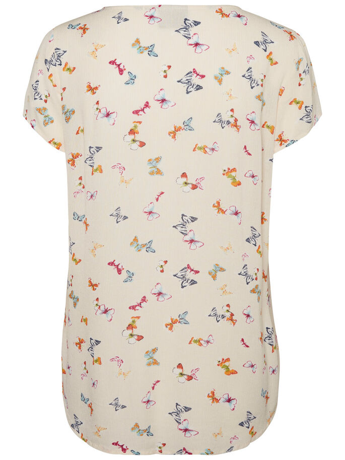 BUTTERFLY SHORT SLEEVED TOP, Buttercream, large