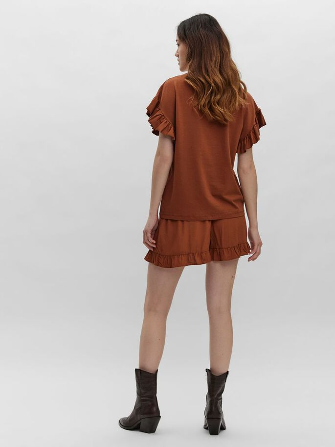 FRILL SLEEVE TOP, Mocha Bisque, large