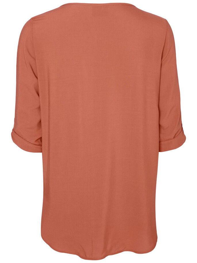 HIGH-LOW 3/4 SLEEVED BLOUSE, Cedar Wood, large
