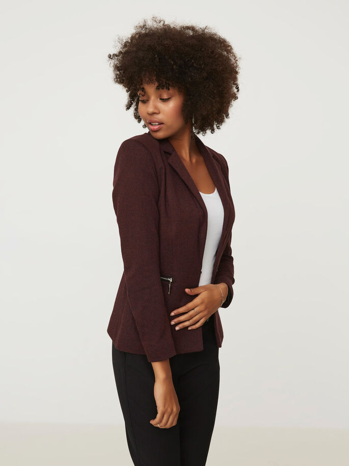 MANCHES LONGUES BLAZER, Decadent Chocolate, large