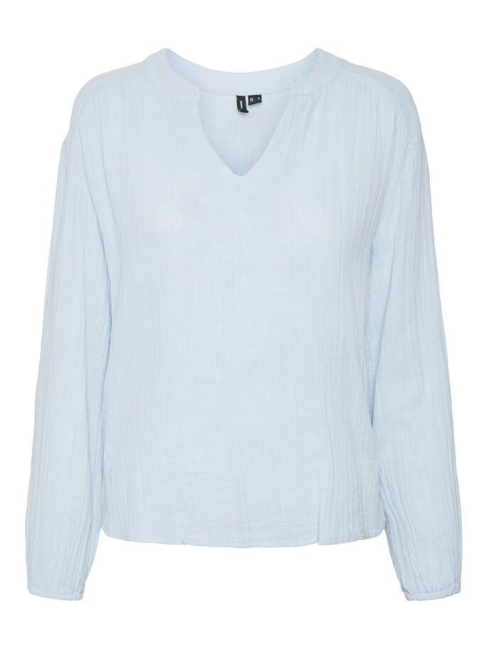 HIGH LOW LONG SLEEVED TOP, Cashmere Blue, large