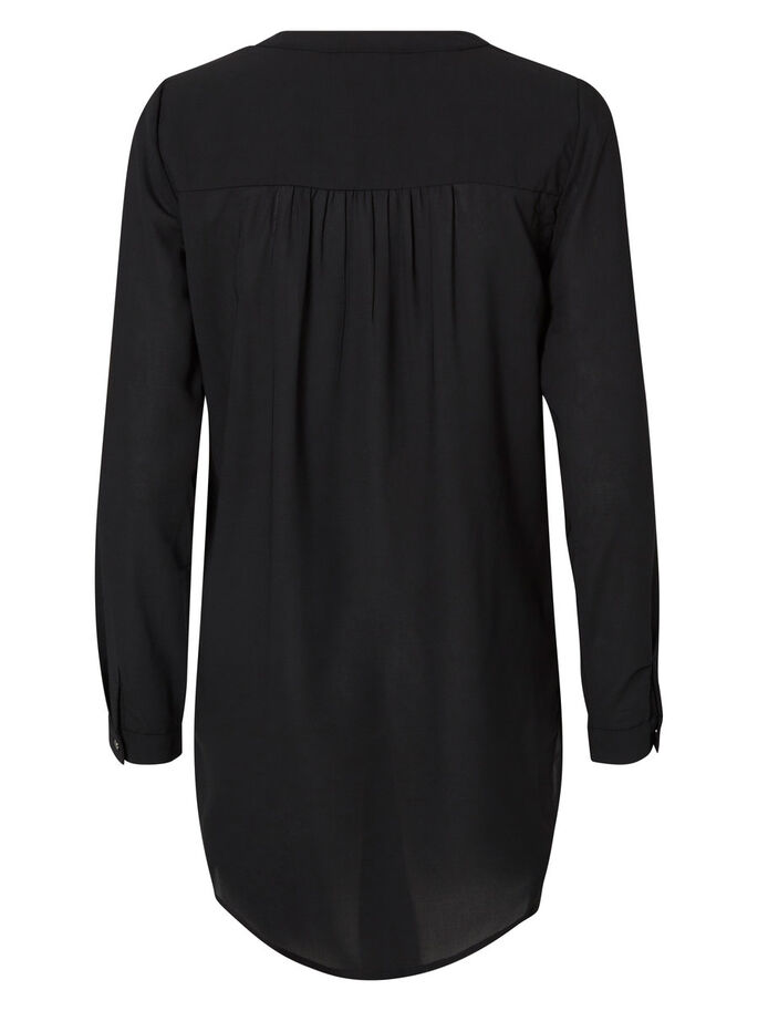 VÆVET TOP MED LANGE ÆRMER, Black, large