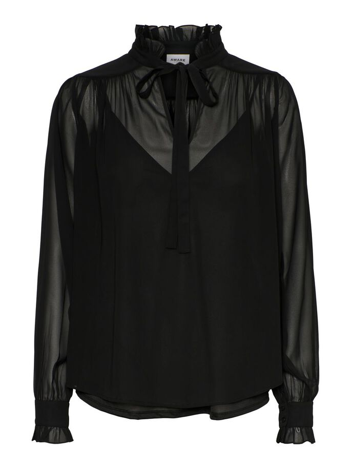HIGH NECK TIE BLOUSE, Black, large