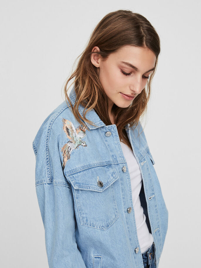 DETAILED DENIM JACKET, Light Blue Denim, large