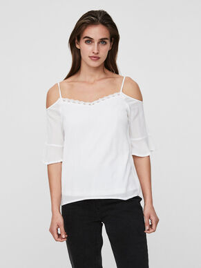 COLD SHOULDER 3/4 SLEEVED BLOUSE