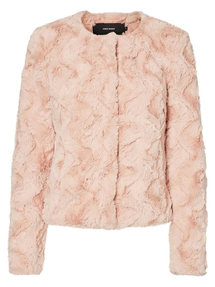 SHORT FAUX FUR JACKET, Rose Cloud, large