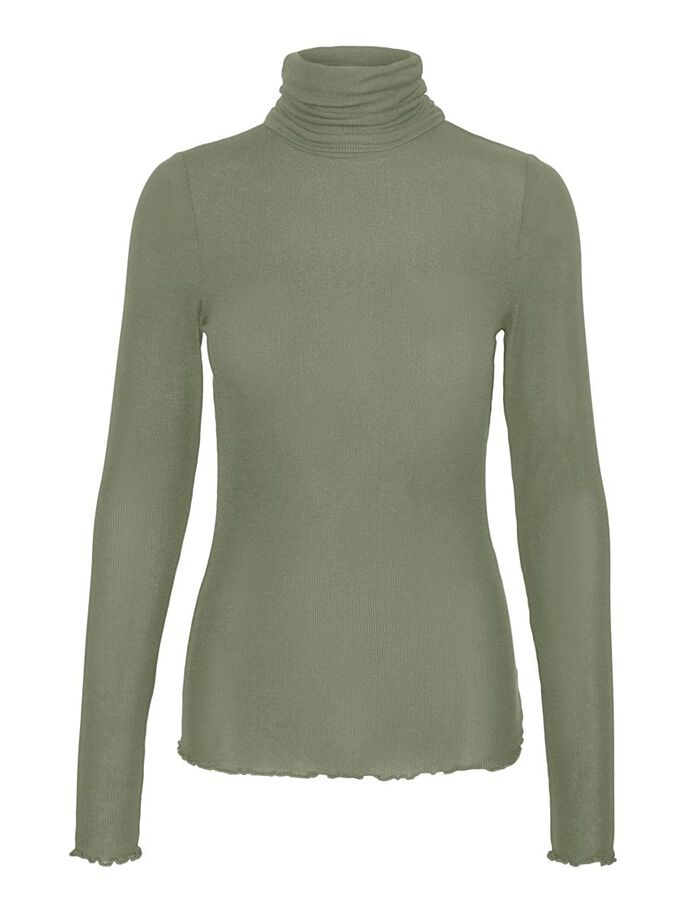 HIGH NECK LONG SLEEVED TOP, Oil Green, large