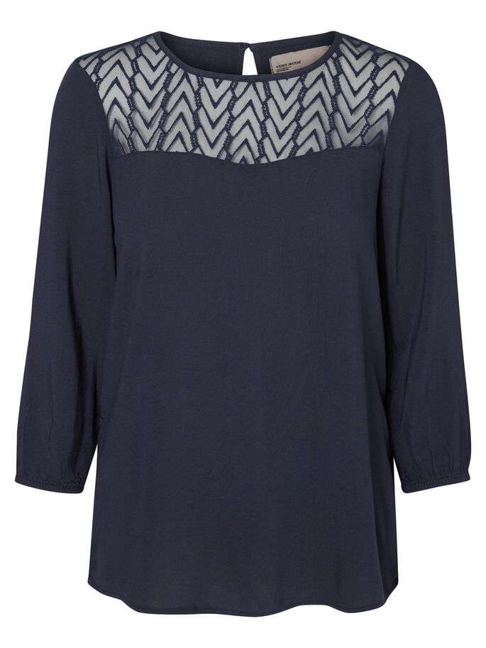 LACE 3/4 SLEEVED TOP, Total Eclipse, large