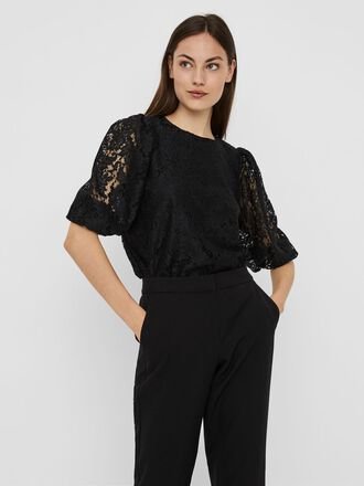 VOLUMINOUS SLEEVED LACE BLOUSE