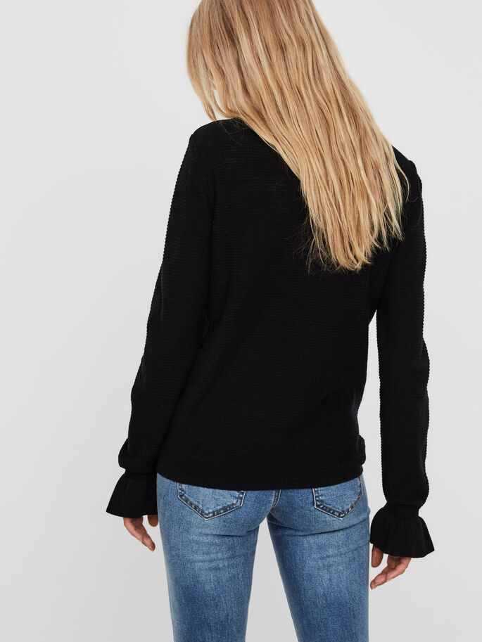 FRILL SLEEVED BLOUSE, Black, large