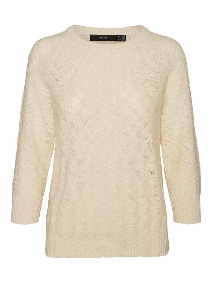 COL ROND PULL EN MAILLE, Birch, large