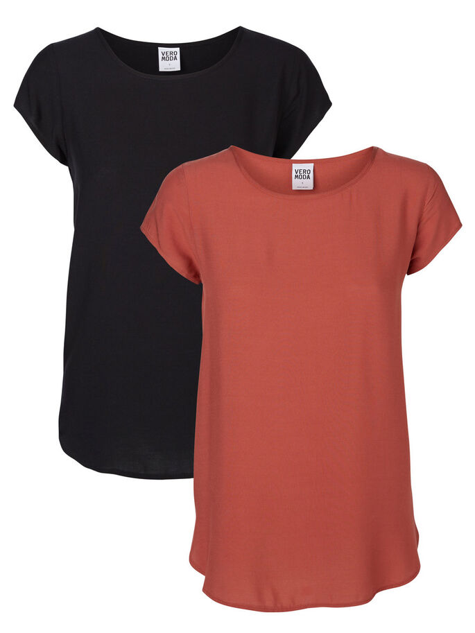 2-PACK SOFT SHORT SLEEVED TOP, Marsala, large