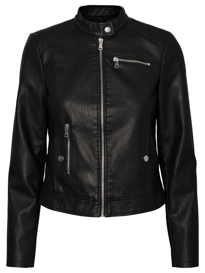 LEATHER-LOOK JACKET, Black Beauty, large