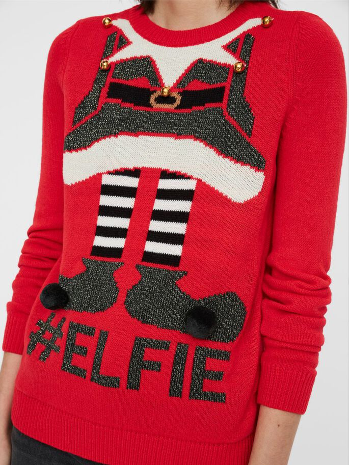 CHRISTMAS KNITTED PULLOVER, Chinese Red, large