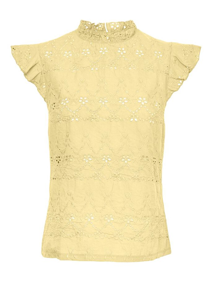 HIGH NECK SHORT SLEEVED TOP, French Vanilla, large