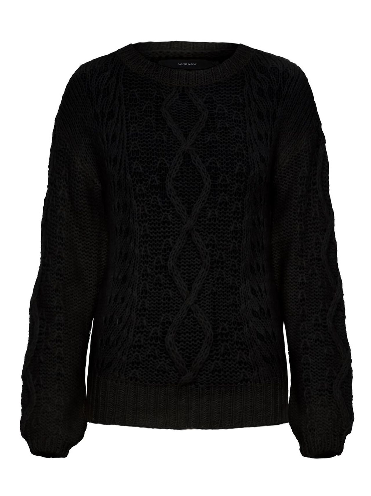O-neck Knitted Pullover Women black