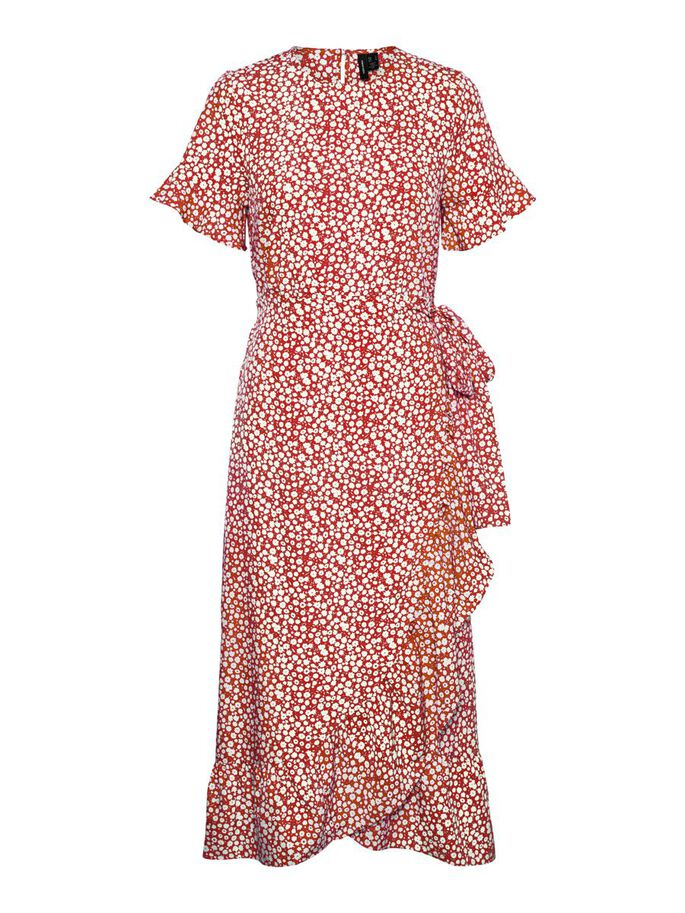 PRINTED WRAP MIDI DRESS, Mars Red, large