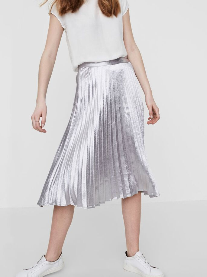 SILVER PLEATED SKIRT, Silver, large
