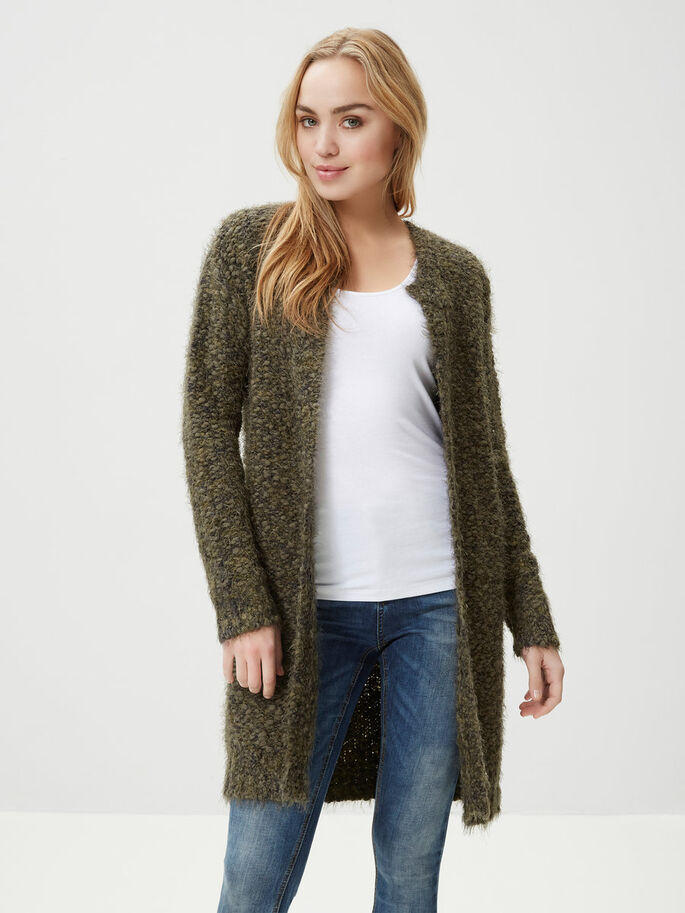 STRIKKET CARDIGAN, Ivy Green, large