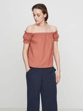LINEN OFF-SHOULDER SHORT SLEEVED TOP