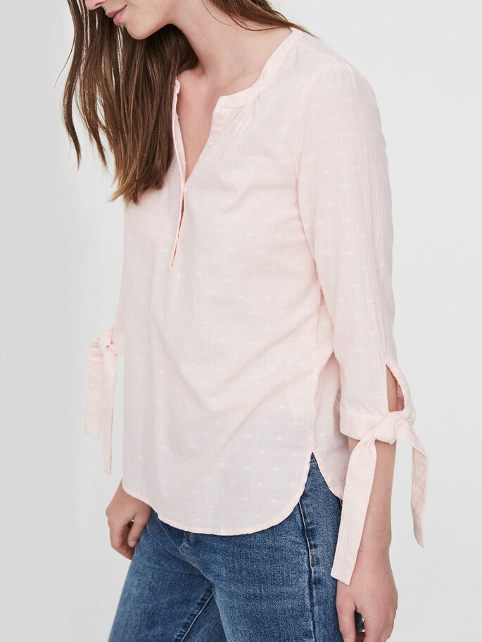 FEMININE 3/4 SLEEVED BLOUSE, Coral Cloud, large