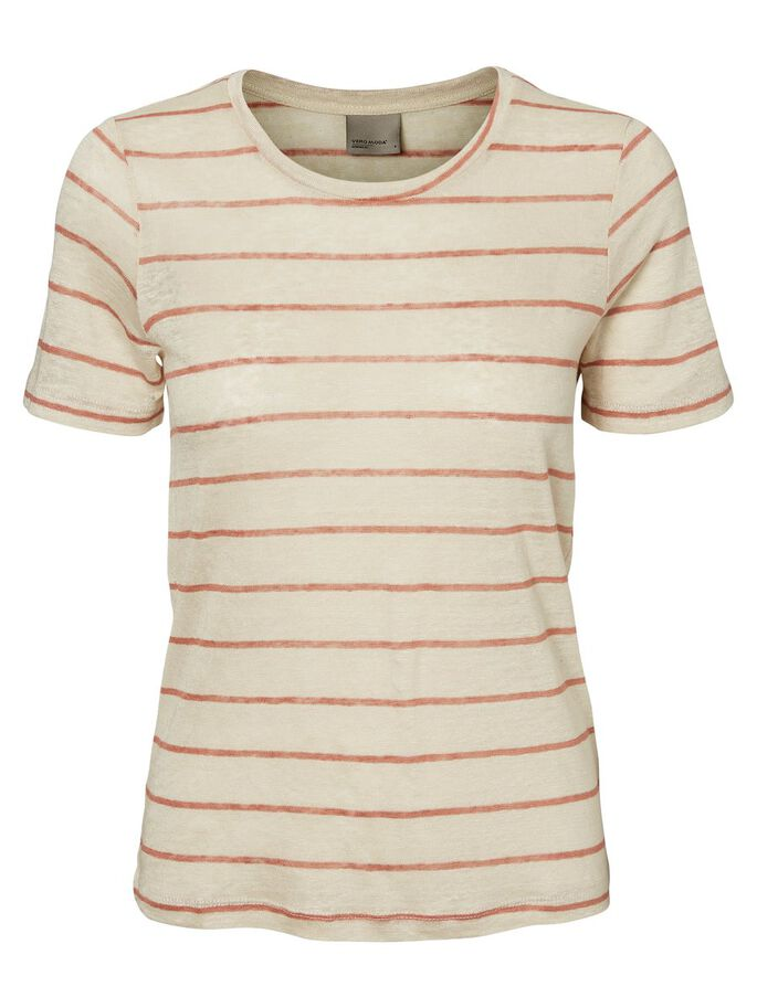 LINNEN T-SHIRT, Oatmeal, large