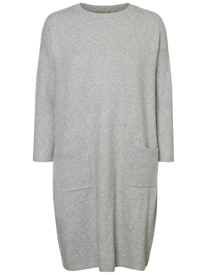 CASUAL KNITTED DRESS, Light Grey Melange, large