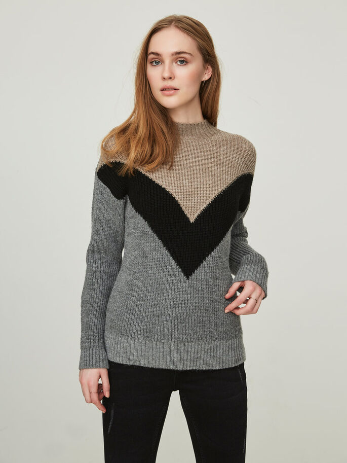 DETAILREICHER STRICKPULLOVER, Medium Grey Melange, large