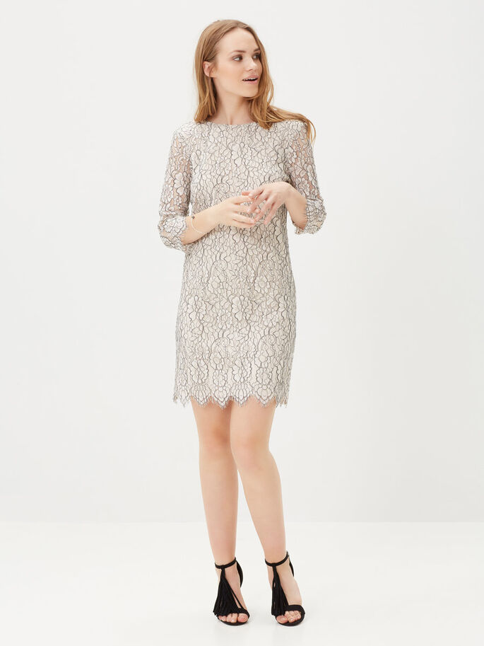 LACE SHORT DRESS, Moonbeam, large