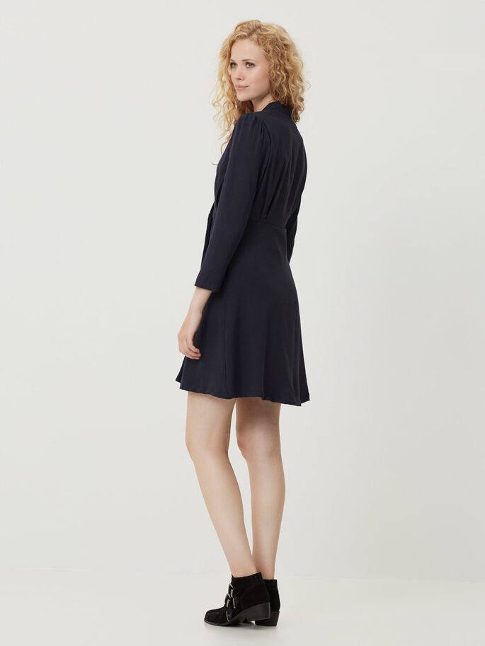 FEMININE LONG SLEEVED DRESS, Navy Blazer, large