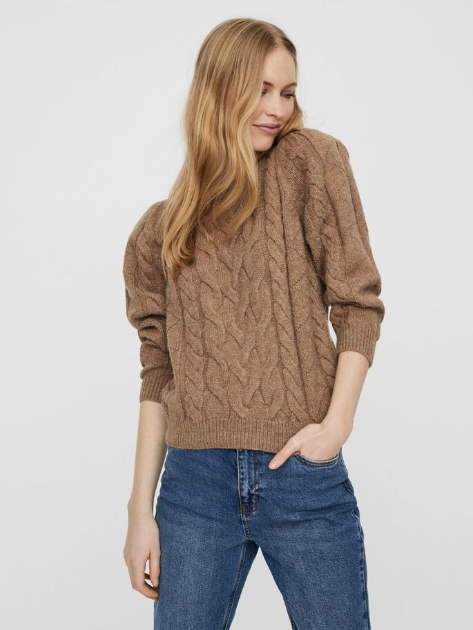 O-NECK KNITTED PULLOVER, Sepia Tint, large