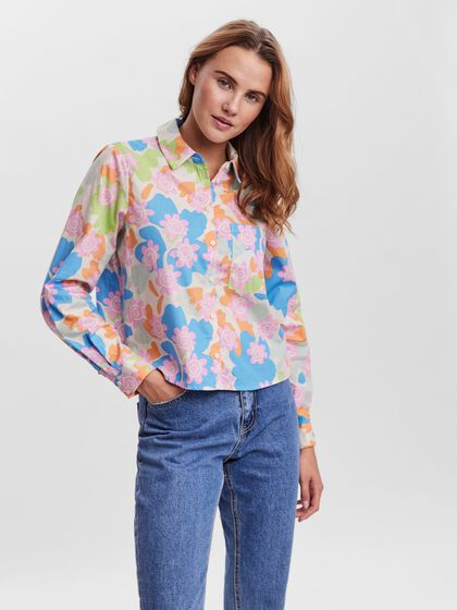 PRRINTED CROPPED LONG SLEEVED BLOUSE