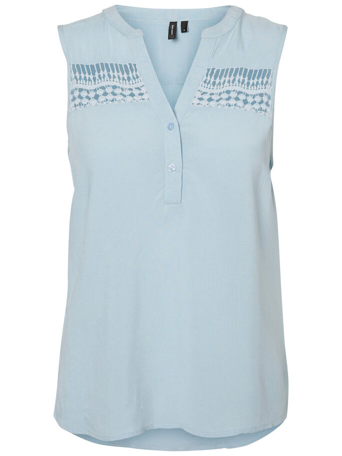 FEMININE SLEEVELESS TOP, Cashmere Blue, large