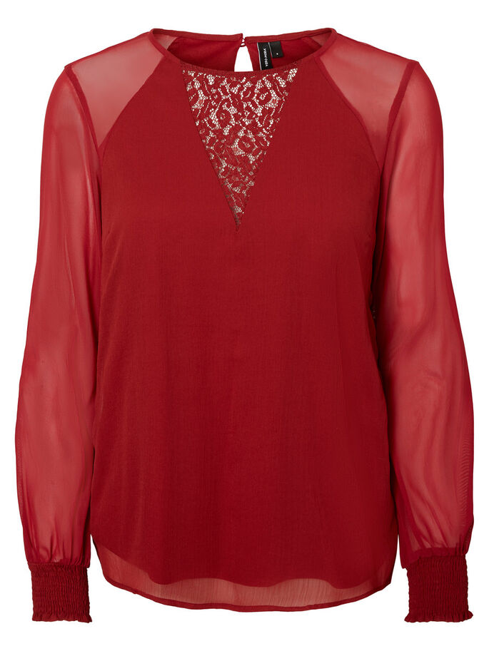 LACE LONG SLEEVED BLOUSE, Sun-Dried Tomato, large