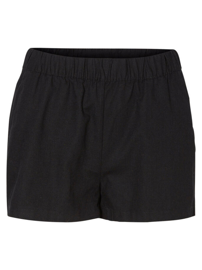LINEN SHORTS, Black, large