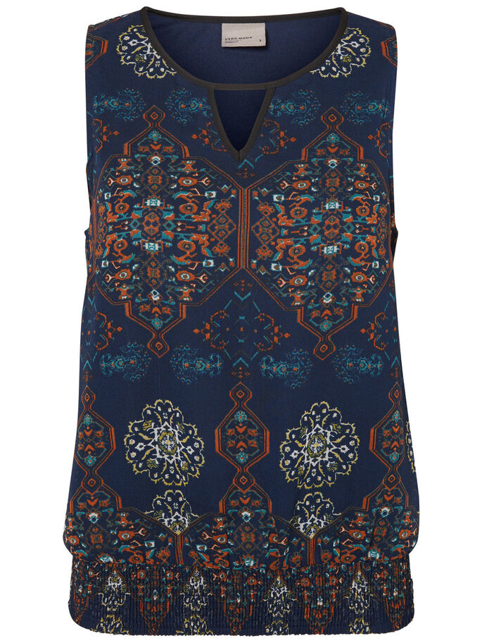 PRINTED SLEEVELESS TOP, Total Eclipse, large