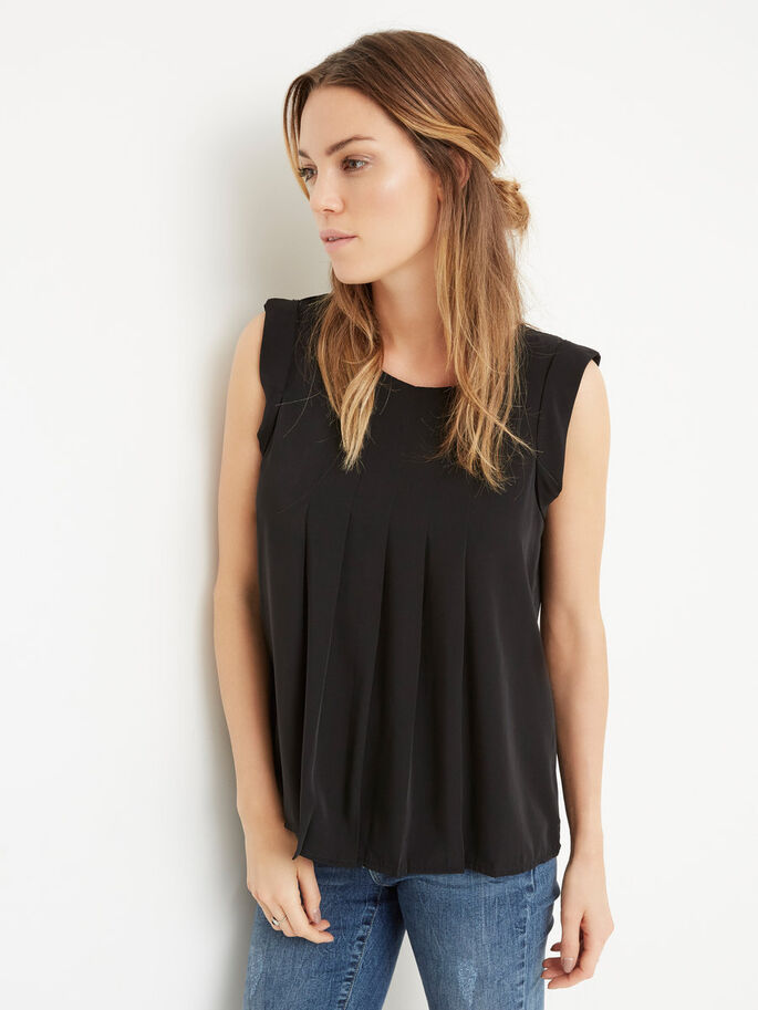 FEMININE SLEEVELESS TOP, Black, large