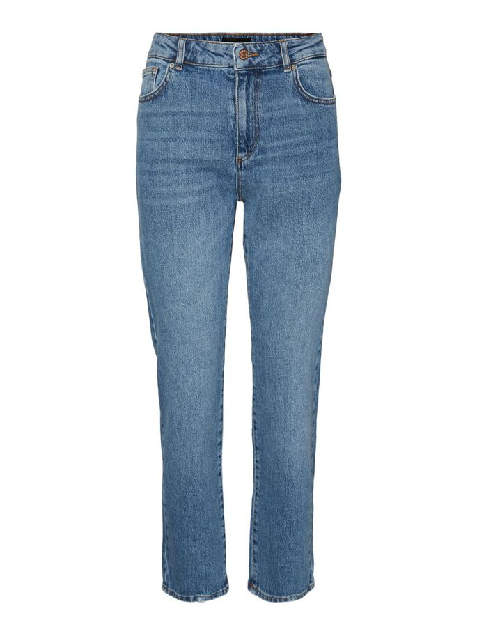 VMCARLA HIGH WAISTED STRAIGHT FIT JEANS, Medium Blue Denim, large