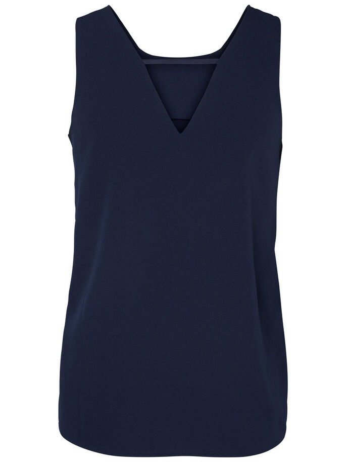 DETAILED SLEEVELESS TOP, Navy Blazer, large